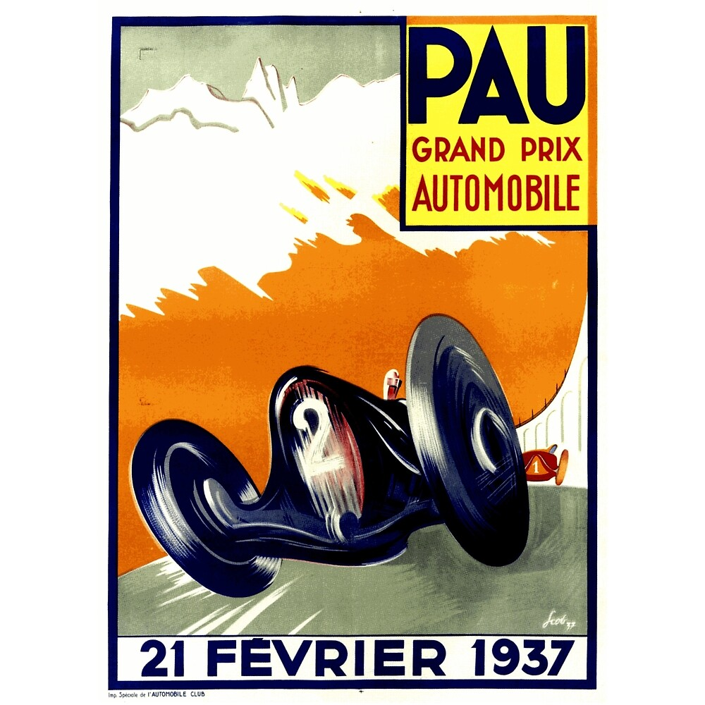 1937 French Grand Prix Poster Design by Chunga