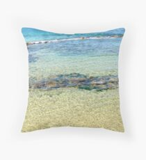 Water and rocks at Newcastle Throw Pillow