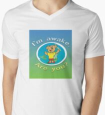 Can Can Bear is awake. Are you? V-Neck T-Shirt