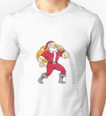 Super Santa Claus Carrying Sack Isolated Cartoon Unisex T-Shirt