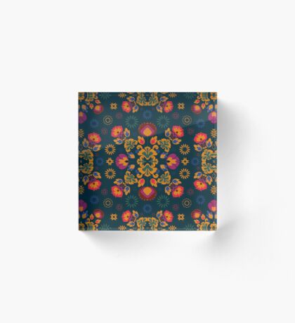 Fiesta Folk Blue #redbubble #folk Acrylic Block