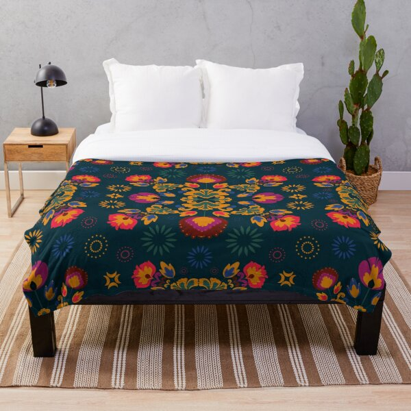 Fiesta Folk Blue Throw Blanket