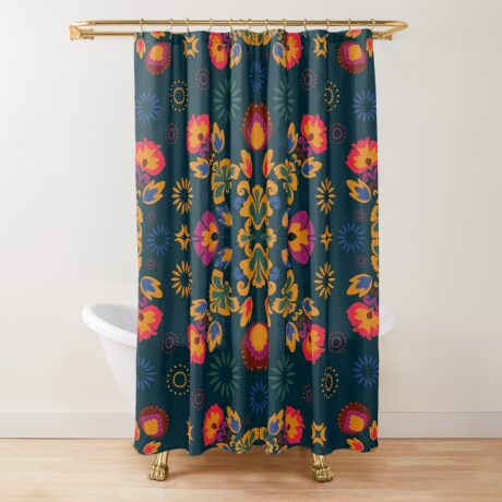 Fiesta Folk Blue #redbubble #folk Shower Curtain