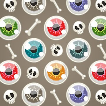 Halloween Pattern with Eyes on Gray by Voysla