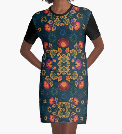 Fiesta Folk Blue #redbubble #folk Graphic T-Shirt Dress