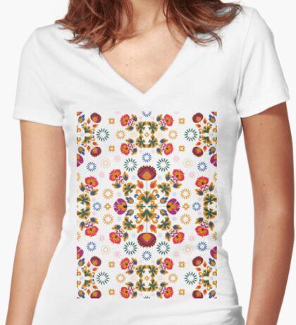 Fiesta Folk Blue #redbubble #folk Fitted V-Neck T-Shirt