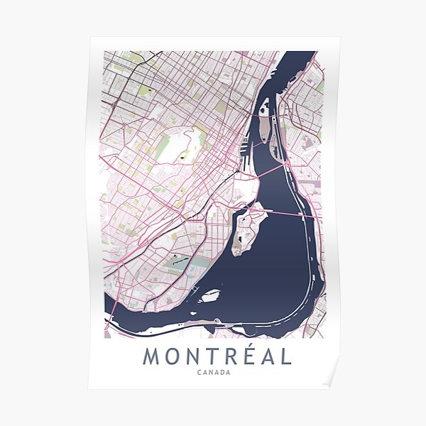 Carte de la ville de Montréal Canada Gift Poster