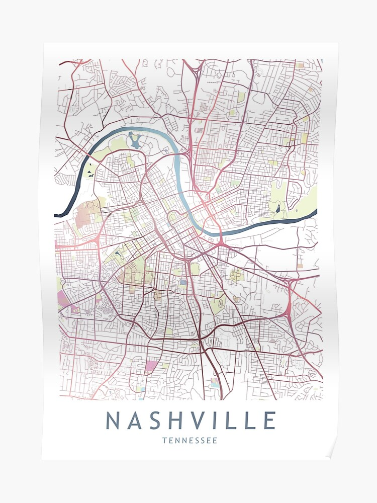 Nashville City Map USA Tennessee Gift | Poster
