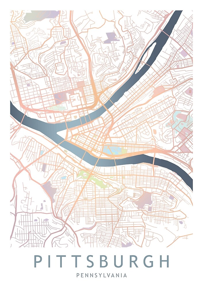 Pittsburgh City Map Usa Pennsylvania Gift By Theredfinch Redbubble