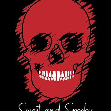 Sweet and Spooky Red Design Skull Happy Halloween by IvonDesign