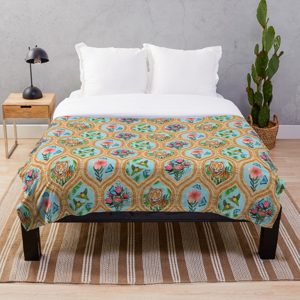 Tiger print with tropical flowers, lovebirds and blue morpho butterflies Throw Blanket