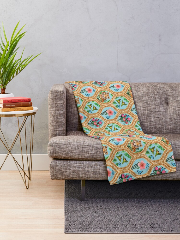 Alternate view of Tiger print with tropical flowers, lovebirds and blue morpho butterflies Throw Blanket