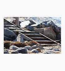Snowy Beach Steps Photographic Print