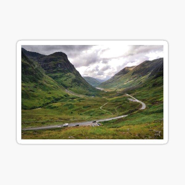 The A82 road through Glencoe, Highlands of Scotland Sticker