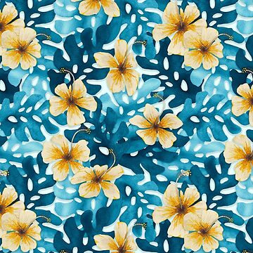 Tropical Hibiscus Pattern White by artlovepassion