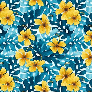 Tropical Hibiscus Pattern Yellow by artlovepassion