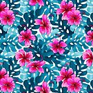 Tropical Hibiscus Pattern Pink by artlovepassion