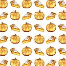 Pumpkin Pie Pattern Fall Watercolor by Erika Lancaster