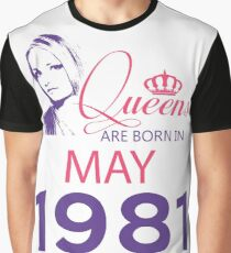 It's My Birthday 37. Made In May 1981. 1981 Gift Ideas. Graphic T-Shirt