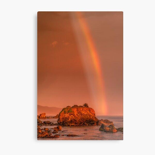Rainbow over Crescent City harbor Metal Print