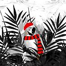 Holidays Parrot Black and White Tropical by oursunnycdays