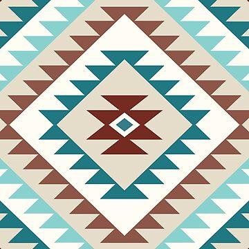 Aztec Motif Diamond Teals Creams Browns by NataliePaskell