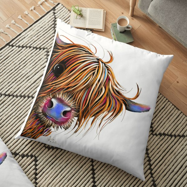 HiGHLaND CoW PRiNT SCoTTiSH ' SuGaR LuMP ' BY SHiRLeY MacARTHuR Floor Pillow