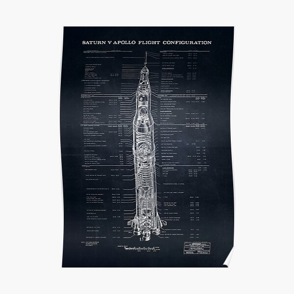 Apollo Saturn V Blueprint in High Resolution (black) Poster