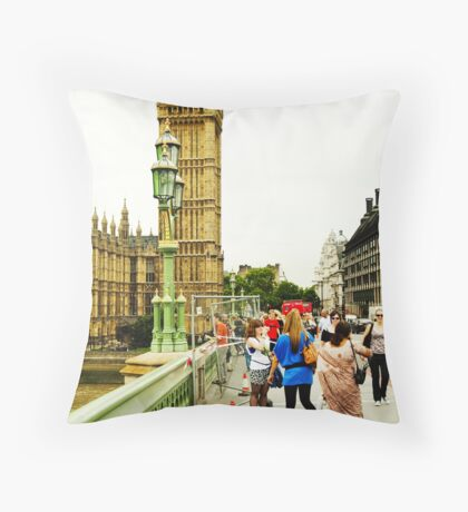Smile Please: Tourists and Big Ben Throw Pillow