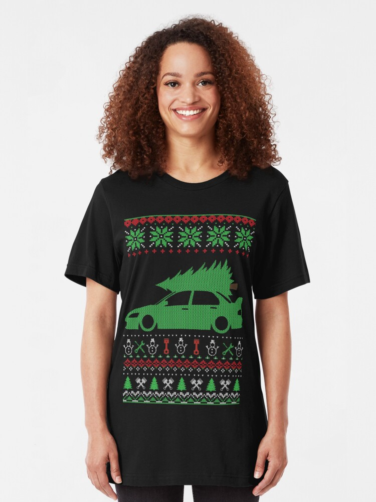 glstkrrn Lancer Evolution Evo 7 8 9 Ugly Christmas Sweater