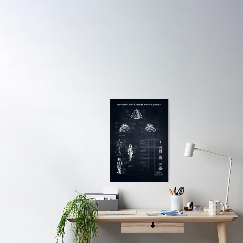 Apollo Saturn V Command Module Blueprint in High Resolution (black) Poster