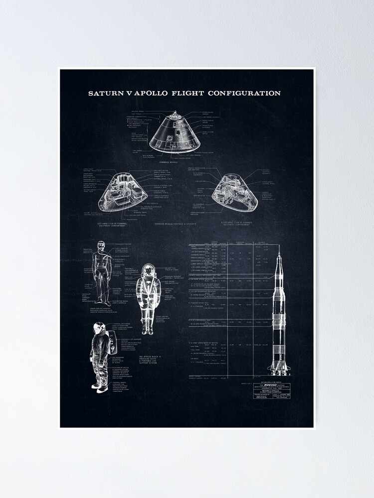 Alternate view of Apollo Saturn V Command Module Blueprint in High Resolution (black) Poster