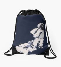 Brian The Poostronaut Evacuates To Outer Space Drawstring Bag