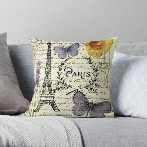 botanical butterfly french provincial scripts paris eiffel tower Throw Pillow