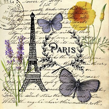 botanical butterfly french provincial scripts paris eiffel tower by lfang77