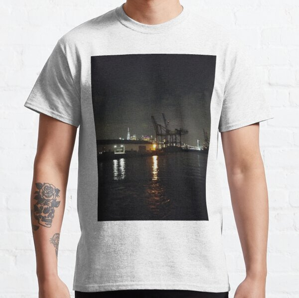 #Port, #crane, #ship, #industry, #sea, #cargo, #harbor, #dock, #shipping, #industrial, #night, #container, #water, #transportation, #transport, #cranes, #boat, #sky, #harbour Classic T-Shirt