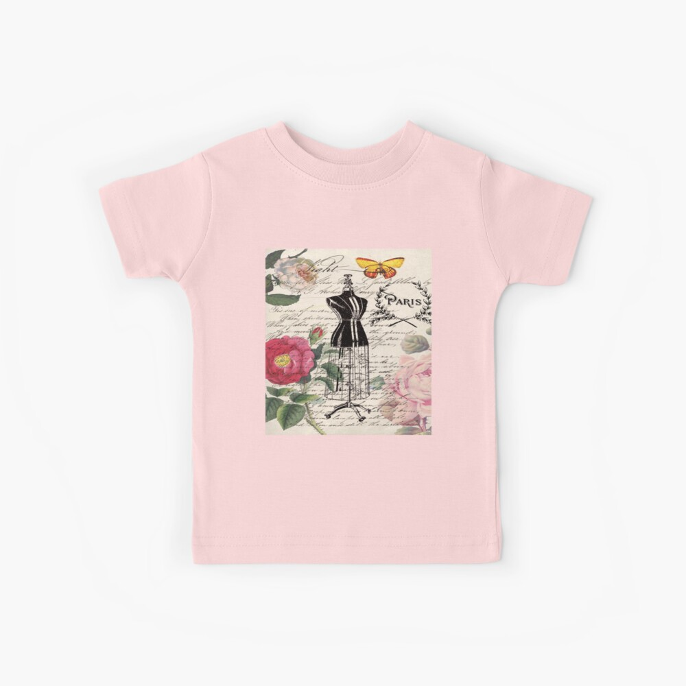 französisches Land Rose floral moderne Vintage Kleid Schaufensterpuppe Paris Mode Kinder T-Shirt