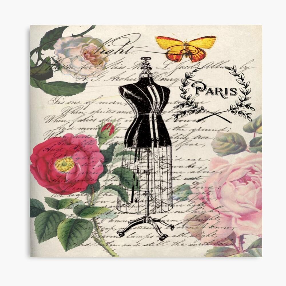 französisches Land Rose floral moderne Vintage Kleid Schaufensterpuppe Paris Mode Leinwanddruck