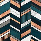 Abstract Chevron Pattern - Copper, Marble, and Blue Concrete by Zoltan Ratko