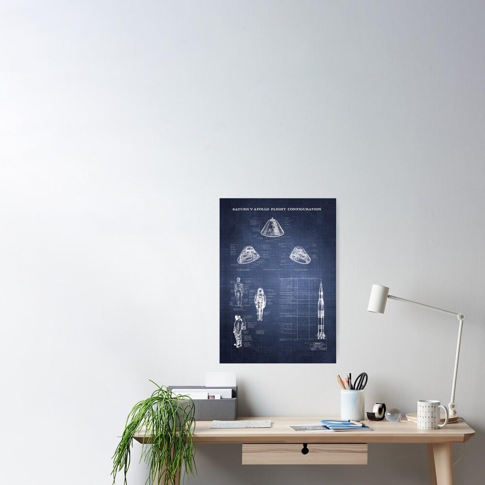Apollo Saturn V Command Module Blueprint in High Resolution (dark blue) Poster