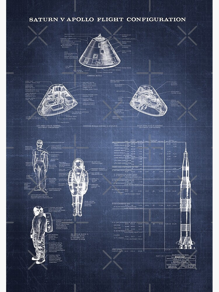 Apollo Saturn V Command Module Blueprint in High Resolution (dark blue) by RHorowitz