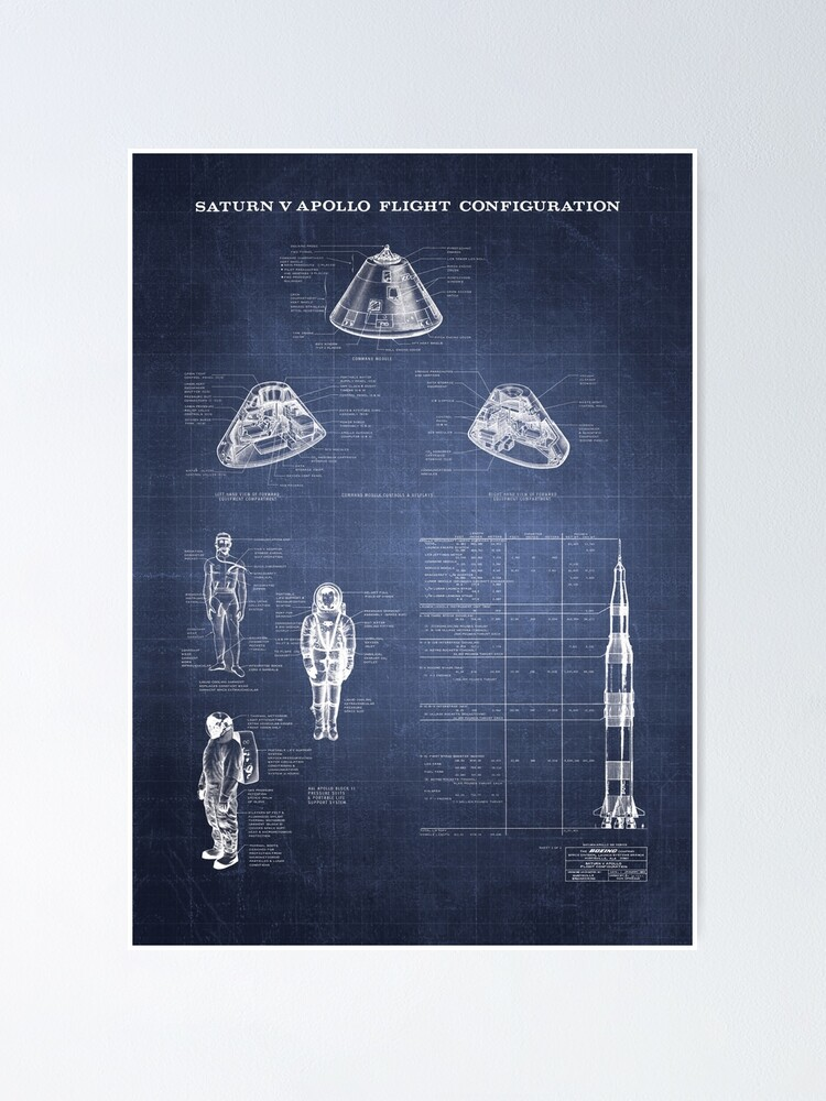 Alternate view of Apollo Saturn V Command Module Blueprint in High Resolution (dark blue) Poster