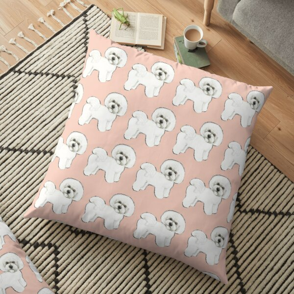 Bichon Frise dogs on Peach Floor Pillow