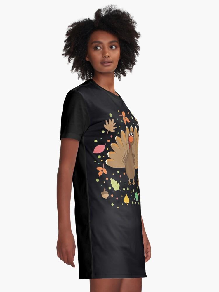 Alternate view of Thanksgiving Turkey Graphic T-Shirt Dress