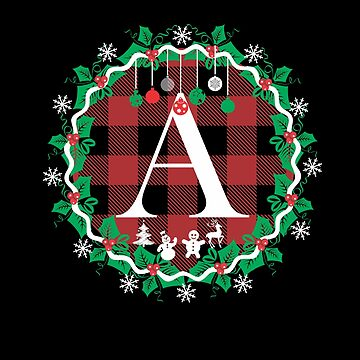 Red Buffalo Plaid Christmas Wreath  with Monogram Initial A Tshirt by Tetete