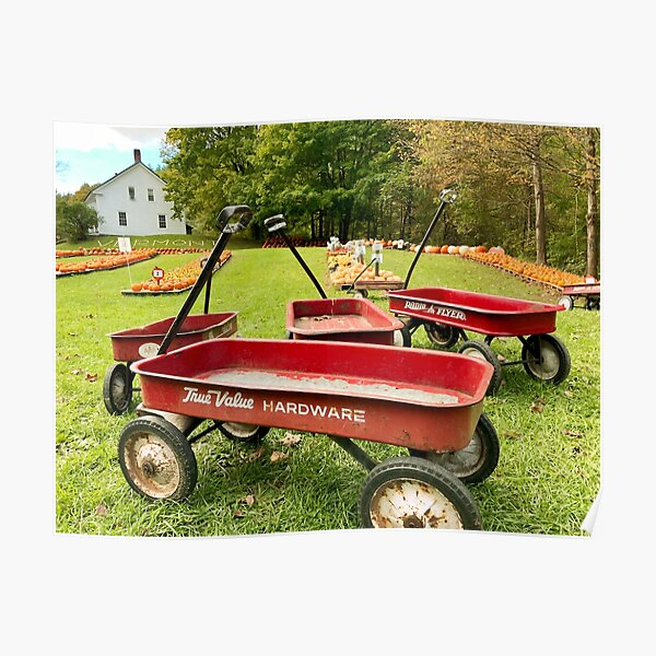 Bright Red Rusty Wagons Poster