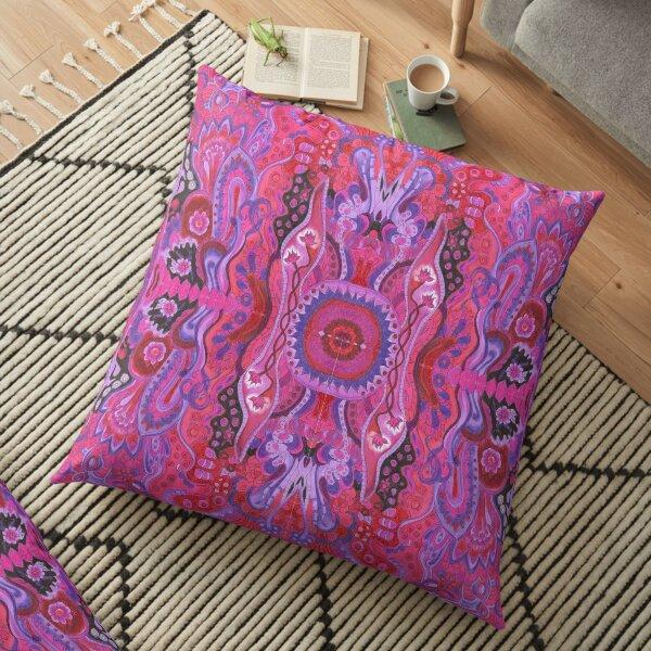 Inner garden boho style abstract floral cyclamen colorful mandala zen  Floor Pillow