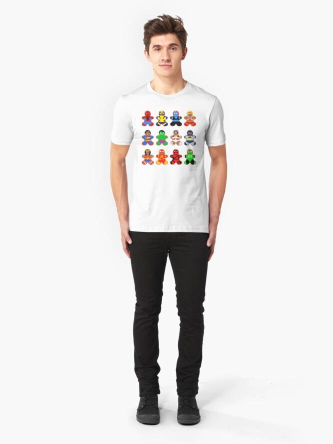 Alternate view of Superhero Gingerbread Man Slim Fit T-Shirt