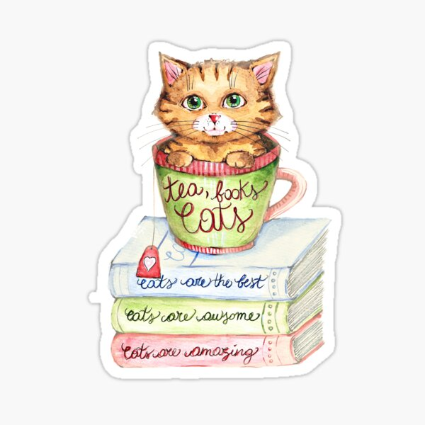 Tea, books and Cats Sticker