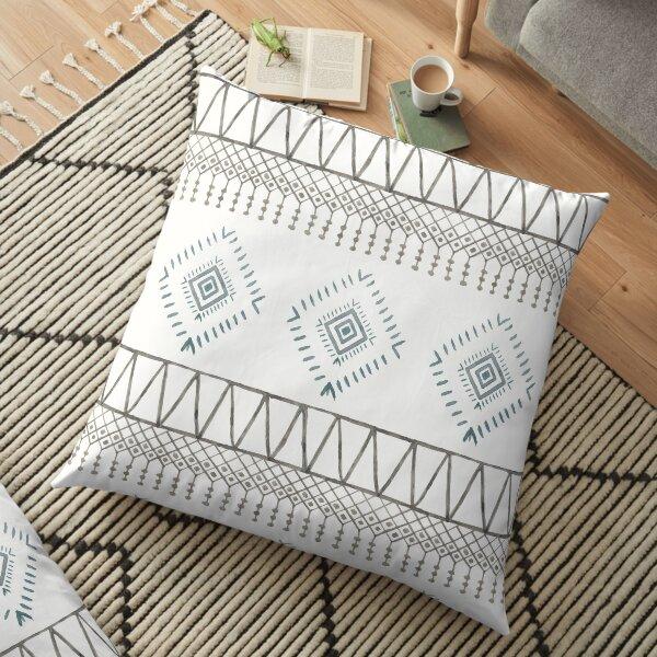 Blue Beige Boho Floor Pillow